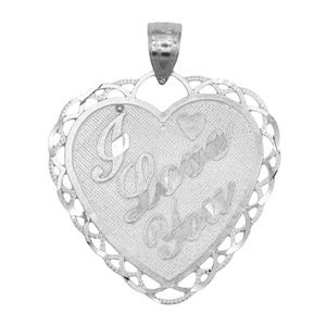 14k Solid White Gold Heart Pendant